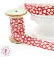 Elastique ruban - Marguerites - Rouge - 15 mm