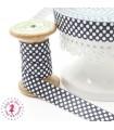 Elastique ruban - Pois - Noir & Blanc - 15 mm