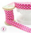 Elastique ruban - Pois - Rose, Vert & Blanc - 15 mm
