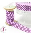 Elastique ruban - Pois - Violet & Blanc - 15 mm