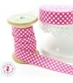 Elastique ruban - Pois - Rose & Blanc - 15 mm