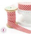 Elastique ruban - Pois - Rouge & Blanc - 15 mm