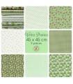 """Coupons """"Verte prairie"""" - Coton - 45 x 45 cm - 9 pièces"""