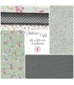"""Coupons """"Tendresse Verte"""" - Coton - 45 x 50 cm - 3 pièces"""