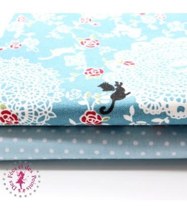 """Coupons """"Chatons, Roses & Dentelles"""" - Coton/Lin - Bleu - 50 x 50 cm - 2 pièces"""