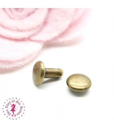 Rivets ronds - 6 mm - Bronze antique