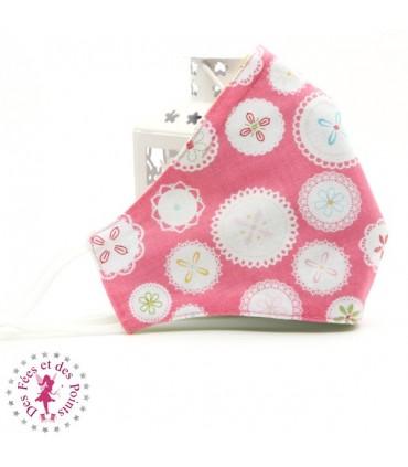 Masque de protection avec poche pour filtre - Flower Lace - Taille M - Femme/Ado