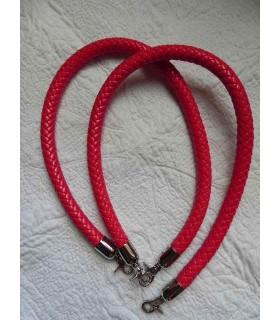 Anse cuir synthétique tressé rouge - 65 cm