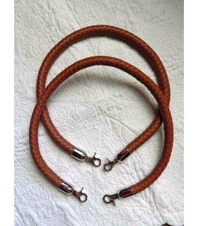 Anses cuir synthétique tressé brun - 65 cm