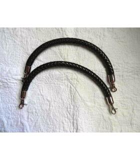 Anses cuir synthétique tressé noir - 40 cm