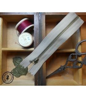 Fermeture éclair métallique avec crochet - 20 cm - Beige