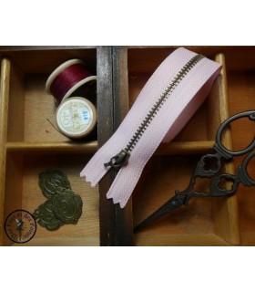 Fermeture éclair métallique avec crochet - 20 cm - Rose