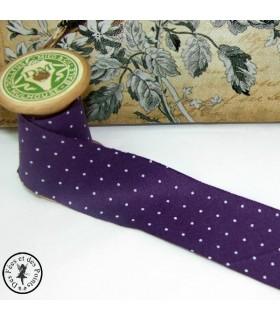Biais -non plié- en coton à pois - Violet
