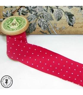 Biais -non plié- en coton à pois - Rouge