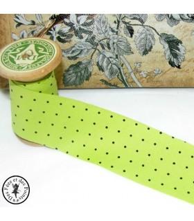 Biais -non plié- en coton à pois - Vert