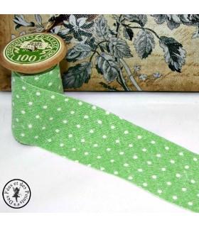 Biais -non plié-  Linen Wash à pois - Vert