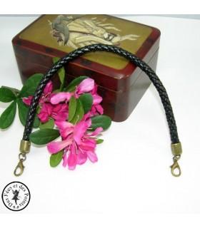 Petite anse - Cuir synthétique tressé - 30 cm - Noir