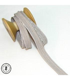 Passepoil à rayure - Brun/Blanc  - 3 mm
