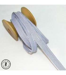 Passepoil à rayures - Bleu/Blanc  - 3 mm
