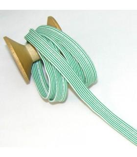 Passepoil à rayures - Vert/Blanc  - 3 mm