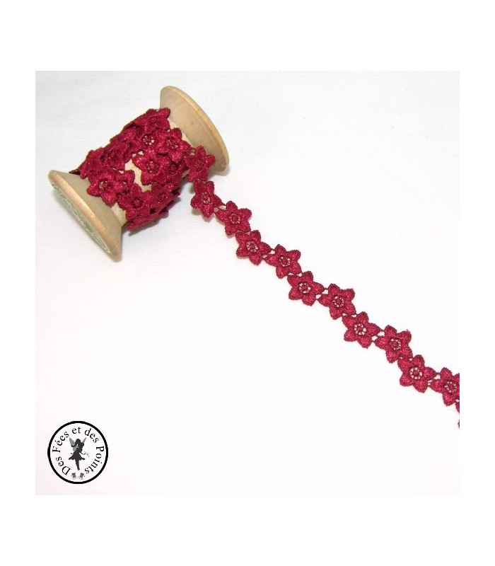 """Guipure """"Amaryllis"""" - 18 mm - Rouge"""