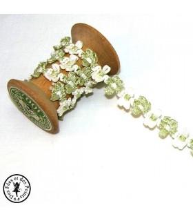 Galon fleurette Vert tendre/Blanc - 12 mm