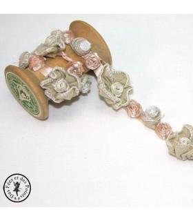 "Fleurs ruban ""Roses anciennes"" - Beige"