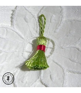 Mini pompon - Vert / Rouge