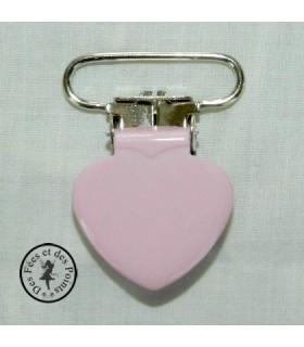 Pince métallique coeur - Rose layette