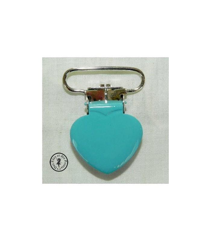 Pince métallique coeur- Turquoise