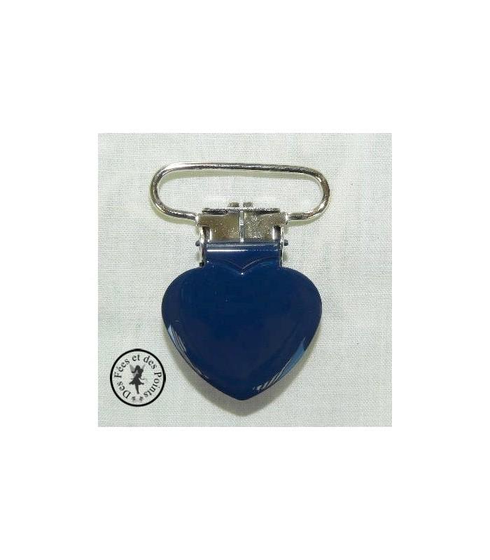 Pince métallique coeur - Bleu nuit