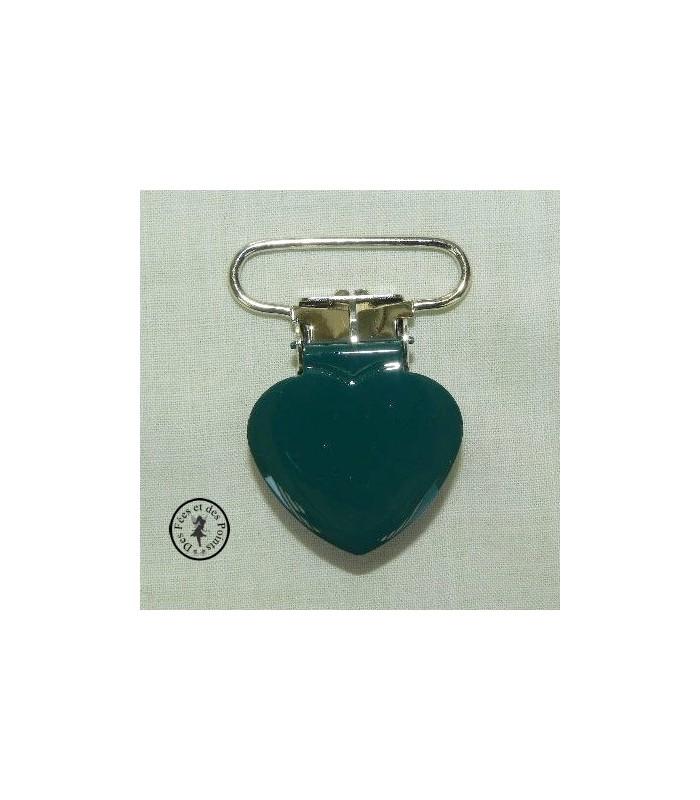 Pince métallique coeur - Vert pétrole