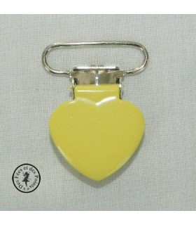 Pince métallique coeur - Jaune citron