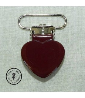 Pince métallique coeur - Brune