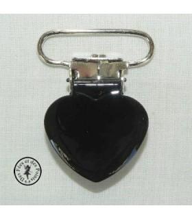 Pince métallique coeur - Noire