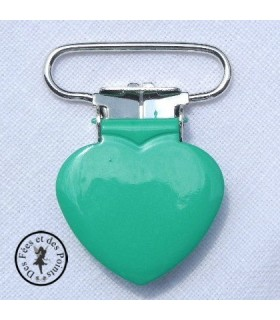 Pince métallique coeur - Vert bleuté