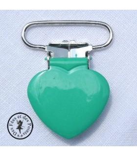 Pince métallique coeur - Verte