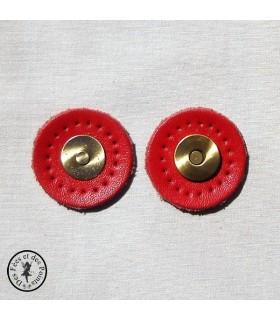 """Fermoir aimanté en cuir  """"Rond"""" - Rouge"""