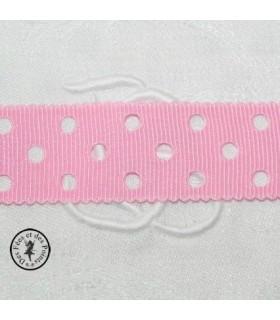 Gros grain à pois ajourés - Rose - 23 mm
