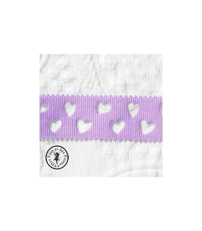 Gros grain à coeurs ajourés - Violet