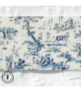 Gros grain - Scène campagnarde - Bleu - 3.8 cm