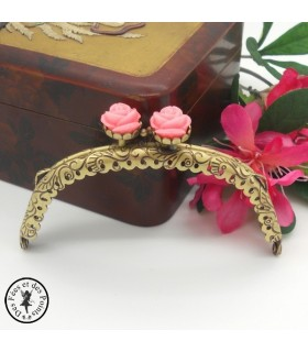 "Fermoir métallique arrondi - ""Fermeture Roses roses"" - 10.5 cm - Gravé - Bronze"