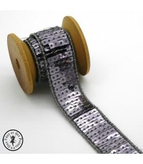Ruban Sequins - Gris acier - 20 mm