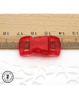 Boucle à clips - Sangle de 10 mm - Rouge transparent