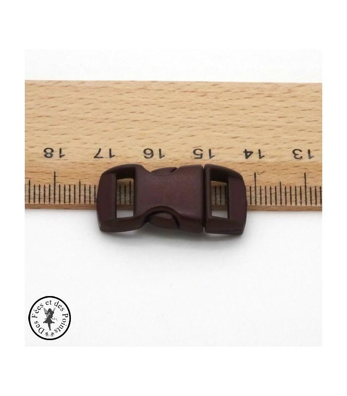 Boucle à clips - Sangle de 10 mm - Brun