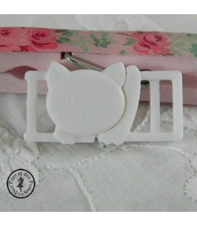 Boucle à clips - Chat Blanc - 10 mm