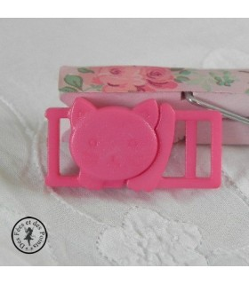 Boucle à clips - Chat Rose framboise - 10 mm