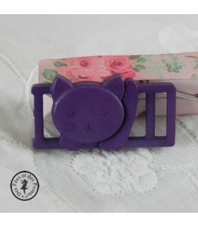 Boucle à clips - Chat Violet - 10 mm