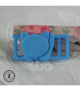 Boucle à clips - Chat Bleu ciel - 10 mm