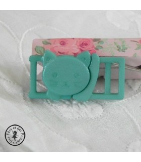 Boucle à clips - Chat Vert turquoise - 10 mm